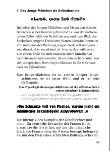Abb. 1: Seite 45 aus Grundbausteine einer Theorie des Jungen-Mädchens. Bildrechte: Merve-Verlag.